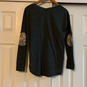 Tops - dark Grey Long Sleeve Top Elbow sequin Size Small